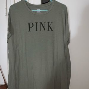 PINK army green tee